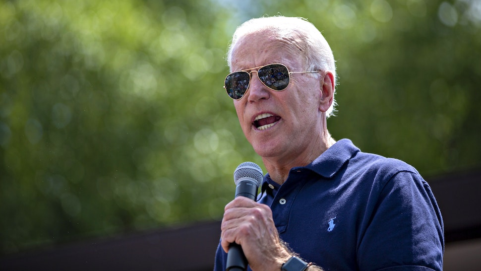 Former U.S. Vice President Joe Biden, 2020 Democratic presidential candidate, speaks at the Des Moines Register Political Soapbox during the Iowa State Fair in Des Moines, Iowa, U.S., on Thursday, Aug. 8, 2019. After speaking, the former vice president didn't explicitly call Trump a white supremacist, but said he tries to curry favor with them.