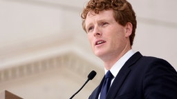 ARLINGTON, VA - JUNE 06: Joe Kennedy III speaks during a Remembrance and Celebration of the Life & Enduring Legacy of Robert F. Kennedy event taking place at Arlington National Cemetery on June 6, 2018 in Arlington, Virginia.
