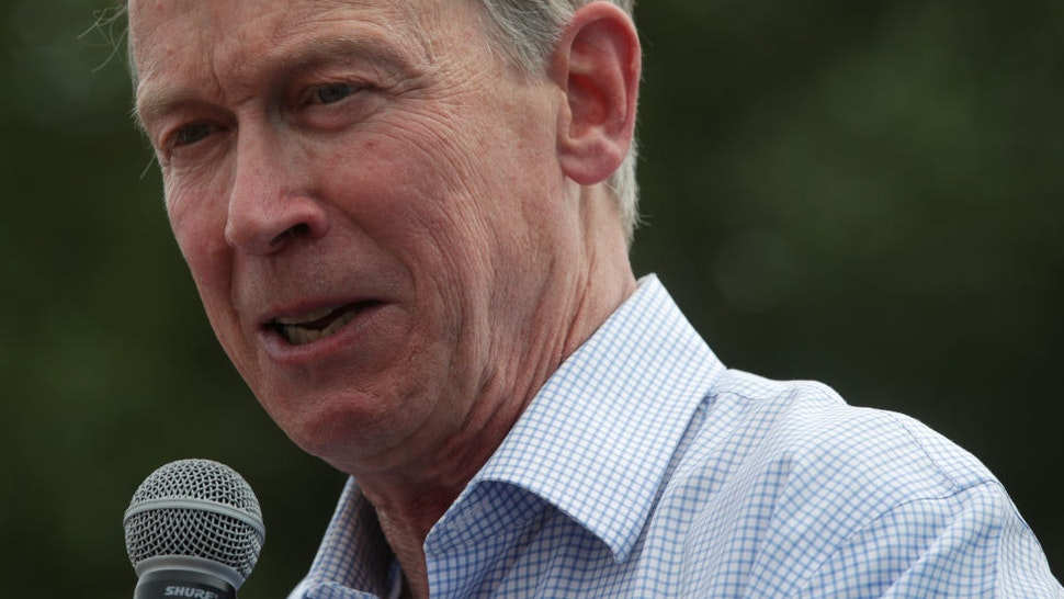 DES MOINES, IOWA - AUGUST 10: Democratic presidential candidate and former Governor of Colorado John Hickenlooper delivers a campaign speech at the Des Moines Register Political Soapbox at the Iowa State Fair on August 10, 2019 in Des Moines, Iowa. 22 of the 23 politicians seeking the Democratic Party presidential nomination will be visiting the fair this week, six months ahead of the all-important Iowa caucuses.