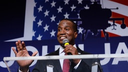 John James, Michigan GOP Senate candidate, speaks at an election night event after winning his primary election at his business