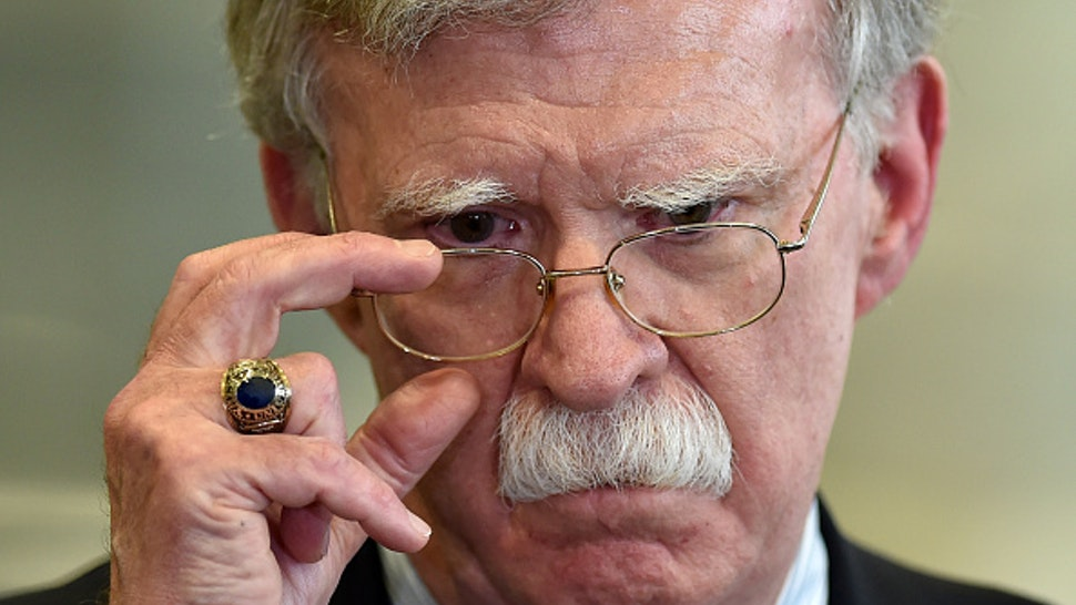 US National Security Advisor John Bolton answers journalists questions after his meeting with Belarus President in Minsk on August 29, 2019