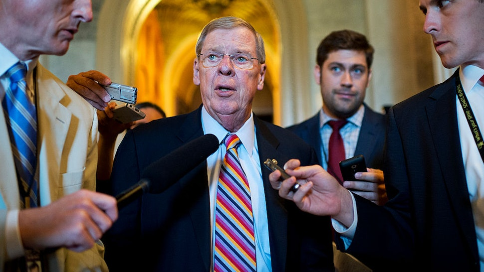 UNITED STATES - JUNE 23: Sen. Johnny Isakson, R-Ga., leaves the Senate Policy luncheons in the Capitol, June 23, 2015.