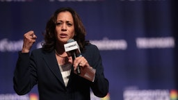 Kamala Harris speaks at an LGBTQ presidential forum at Coe College's Sinclair Auditorium