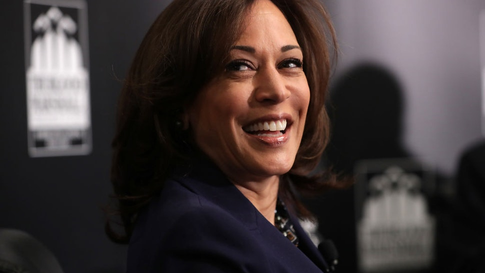 Kamala Harris participates in a interview and question-and-answer session with leaders from historically black colleges