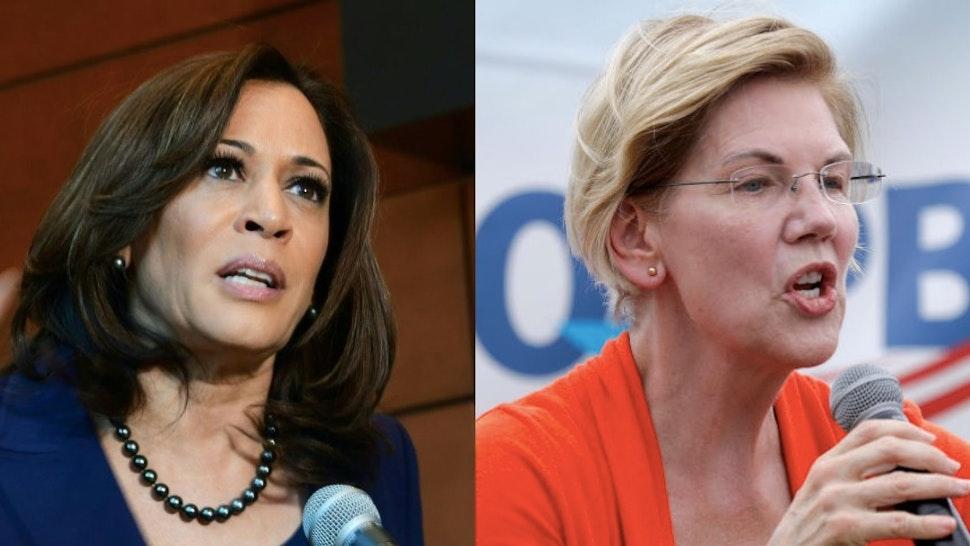 Side-by-side photographs of Democratic presidential candidates Sen. Kamala Harris (CA) and Sen. Elizabeth Warren (MA).