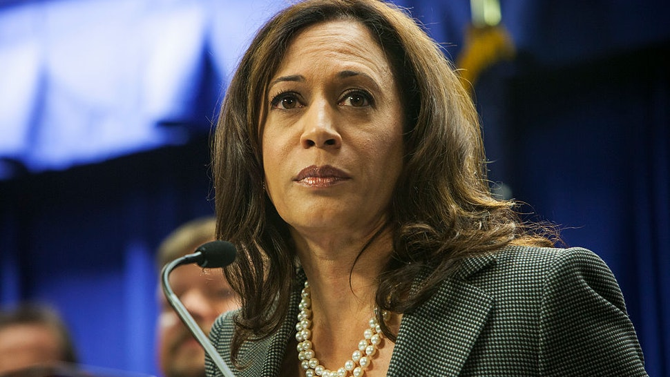 California Attorney General Kamala D. Harris. Press conference at the LA Federal Building to announce a multi-government and law enforcement agency sweep of downtown LA businesses linked to many laundering for drug cartels.