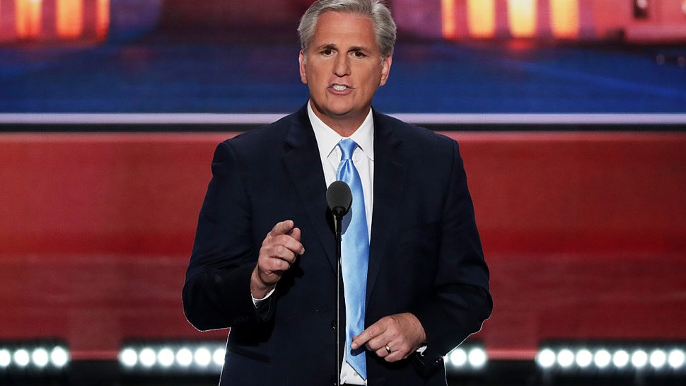 Kevin McCarthy (R-CA) delivers a speech on the second day of the Republican National Convention