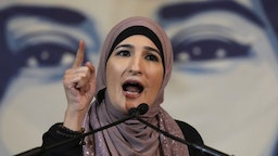 Linda Sarsour speaks during a National Day of Action for a Dream Act Now protest
