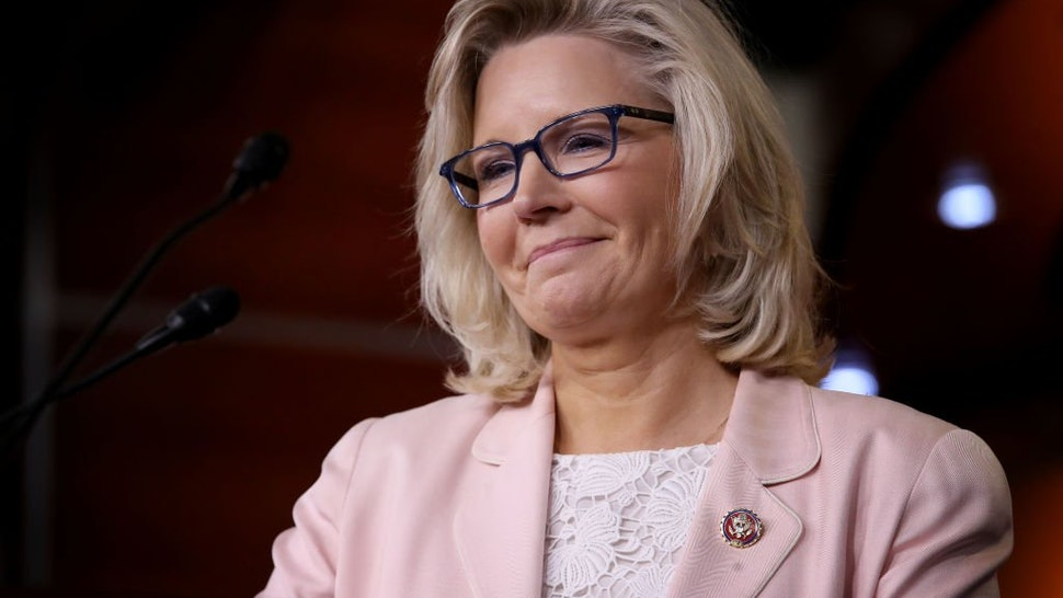 Liz Cheney (R-WY) answers questions during a press conference at the U.S. Capitol