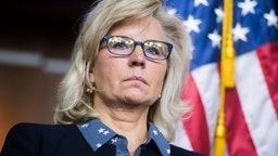 Liz Cheney, R-Wyo., conducts a news conference after a meeting in the Capitol Visitor Center