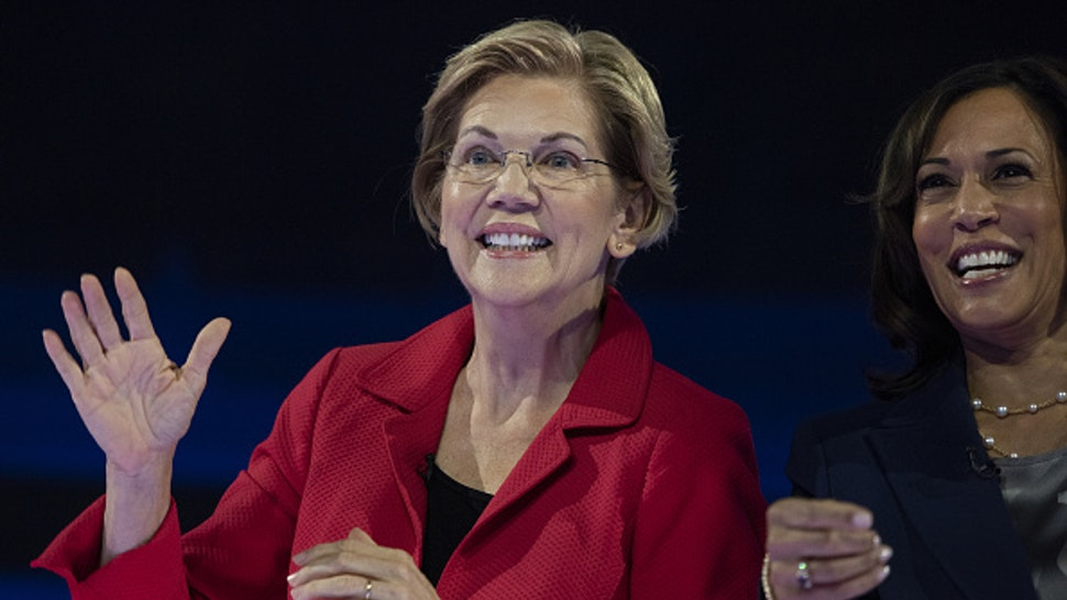 Senator Elizabeth Warren, a Democrat from Massachusetts and 2020 presidential candidate, and Senator Kamala Harris, a Democrat from California and 2020