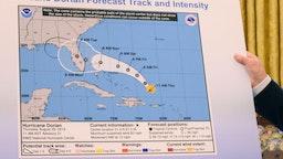 Trump with Hurricane Dorian track.
