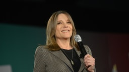 Marianne Williamson, author and 2020 Democratic presidential candidate, speaks during the American Federation of State, County & Municipal Employees (AFSCME) Public Service Forum in Las Vegas, Nevada, U.S., on Saturday, Aug. 3, 2019.