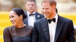 """(EMBARGOED FOR PUBLICATION IN UK NEWSPAPERS UNTIL 24 HOURS AFTER CREATE DATE AND TIME) Meghan, Duchess of Sussex and Prince Harry, Duke of Sussex attend """"The Lion King"""" European Premiere at Leicester Square on July 14, 2019 in London, England."""