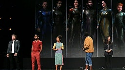 Richard Madden, Kumail Nanjiani, Lauren Ridloff, Brian Tyree Henry, and Salma Hayek of 'The Eternals' took part today in the Walt Disney Studios presentation at Disney's D23 EXPO 2019 in Anaheim, Calif.