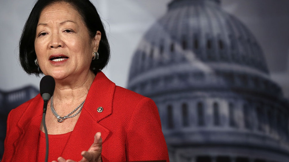 Mazie Hirono (D-HI) speaks during a news conference on debt ceiling increases