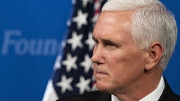 U.S. Vice President Mike Pence pauses while speaking during an event on USMCA trade policy at the Heritage Foundation in Washington, D.C., U.S., on Tuesday, Sept. 17, 2019.