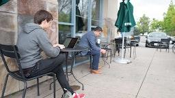 Millennial Outside A Coffee Shop