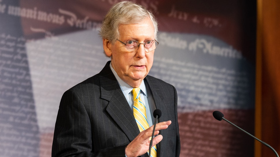 WASHINGTON, D C , UNITED STATES - 2019/06/27: Senate Majority Leader Mitch McConnell (R-KY) speaking at a press conference at the US Capitol in Washington, DC.