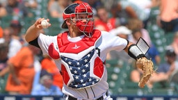 John Hicks #55 of the Detroit Tigers throws a baseball while wearing red, white and blue catchers gear to honor 4th of July weekend during the game against the Boston Red Sox at Comerica Park on July 7, 2019 in Detroit, Michigan.