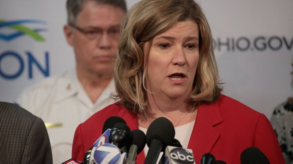 Dayton Mayor Nan Whaley holds a press conference to update the media about yesterday's mass shooting