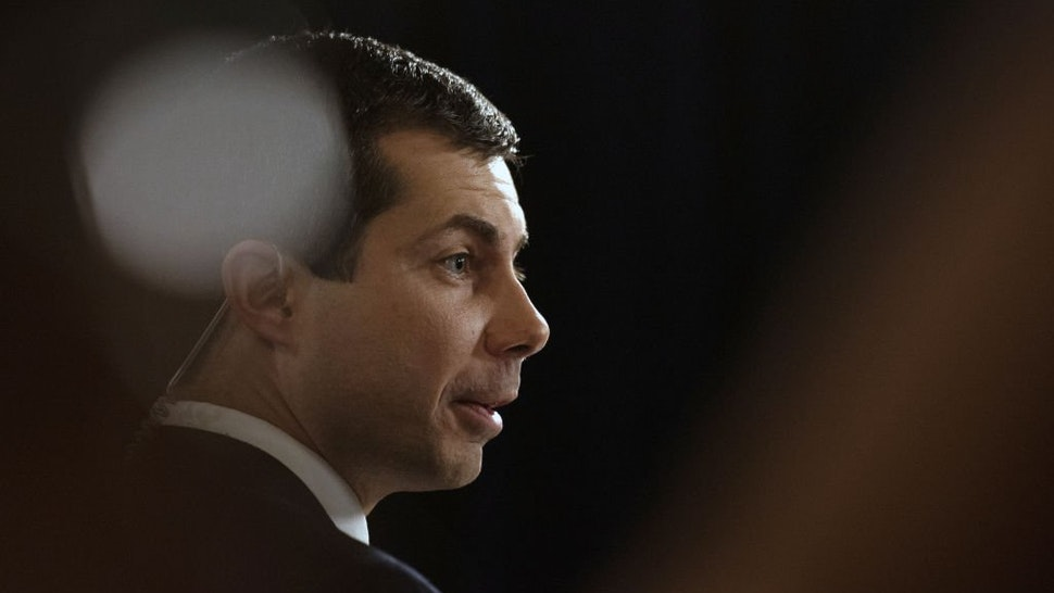 Pete Buttigieg, mayor of South Bend and 2020 presidential candidate, speaks with members of the media following the Democratic presidential candidate debate in Houston, Texas, U.S., on Thursday, Sept. 12, 2019.