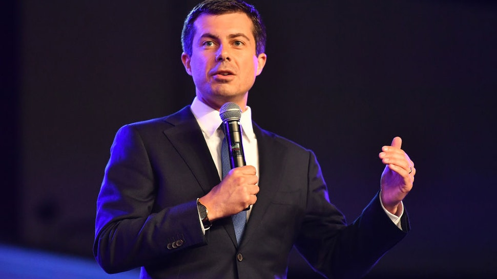 Pete Buttigieg speaks on stage during Young Leaders Conference Presidential Candidates Forum