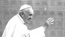 VATICAN CITY, VATICAN - SEPTEMBER 11: (EDITORS NOTE: This image has been converted in black and white) Pope Francis waves to the faithful as he arrives in St. Peter's square for his weekly Audience at The Vatican on September 11, 2019 in Vatican City, Vatican.