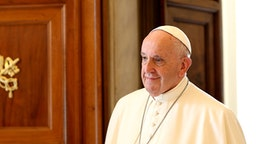 Pope Francis attends an audience with President of Malta George Vella at the Apostolic Palace on September 16, 2019 in Vatican City, Vatican.