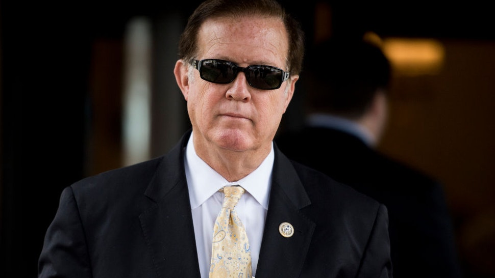 Randy Weber, R-Texas, leaves the House Republican Conference meeting at the Capitol Hill Club