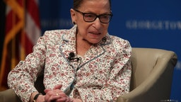 Justice Ruth Bader Ginsburg participates in a discussion at Georgetown University Law Center
