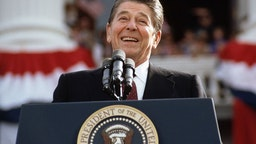Ronald Reagan Giving A Speech