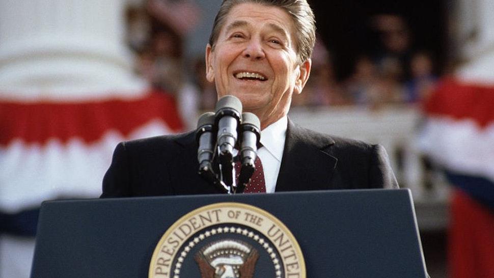 Ronald Reagan Giving A Speech