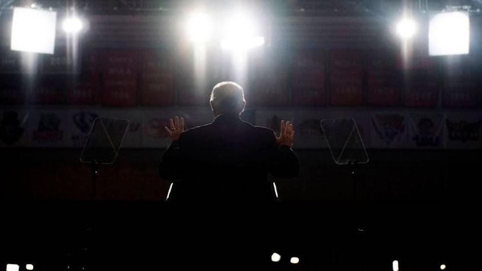 Radio talk show host Rush Limbaugh speaks at a Make America Great Again rally in Cape Girardeau, Missouri on November 5, 2018.