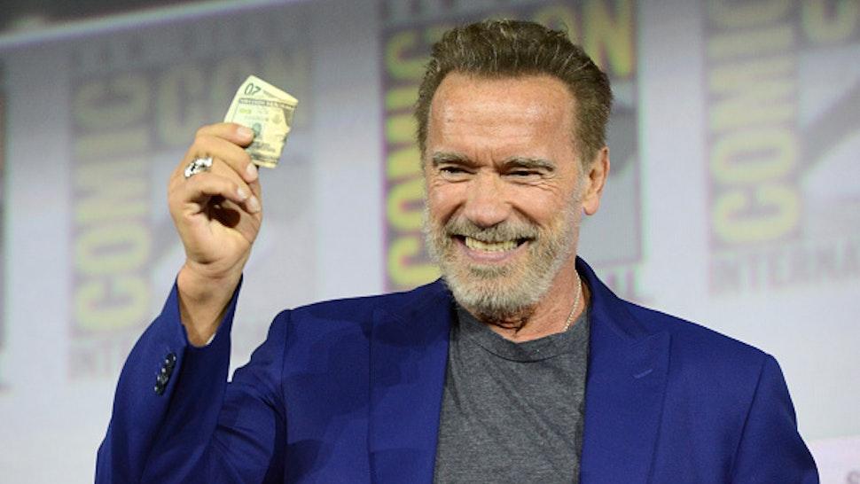 "SAN DIEGO, CALIFORNIA - JULY 18: Arnold Schwarzenegger speaks at the ""Terminator: Dark Fate"" panel during 2019 Comic-Con International at San Diego Convention Center on July 18, 2019 in San Diego, California."