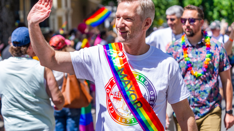 Portland Mayor, Ted Wheeler salutes the crowed during the Portland Pride Parade and Festival on June 16, 2019, in Portland, OR.