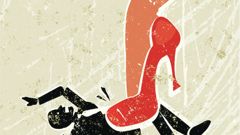 A stylized vector cartoon of a beautiful woman's leg crushing a man under her very high red heels,reminiscent of an old screen print poster and suggesting battle of the sexes, relationship issues, seduction, and putting your foot down.
