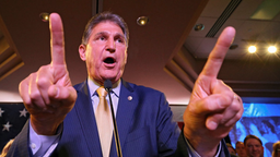 CHARLESTON, WV - NOVEMBER 06: Sen. Joe Manchin (D-WV) celebrates at his election day victory party at the Embassy Suites on November 6, 2018 in Charleston, West Virginia. Manchin won his second full Senate term after he defeated West Virginia Republican S