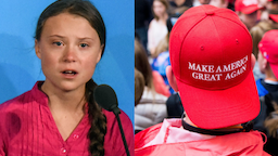 Youth activist Greta Thunberg speaks at the Climate Action Summit at the United Nations on September 23, 2019 in New York City. //Students on a school tour of the Capitol try to catch a glimpse of members of Congress
