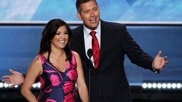 Sean Duffy along with his wife Rachel Campos-Duffy deliver a speech on the first day of the Republican National Convention