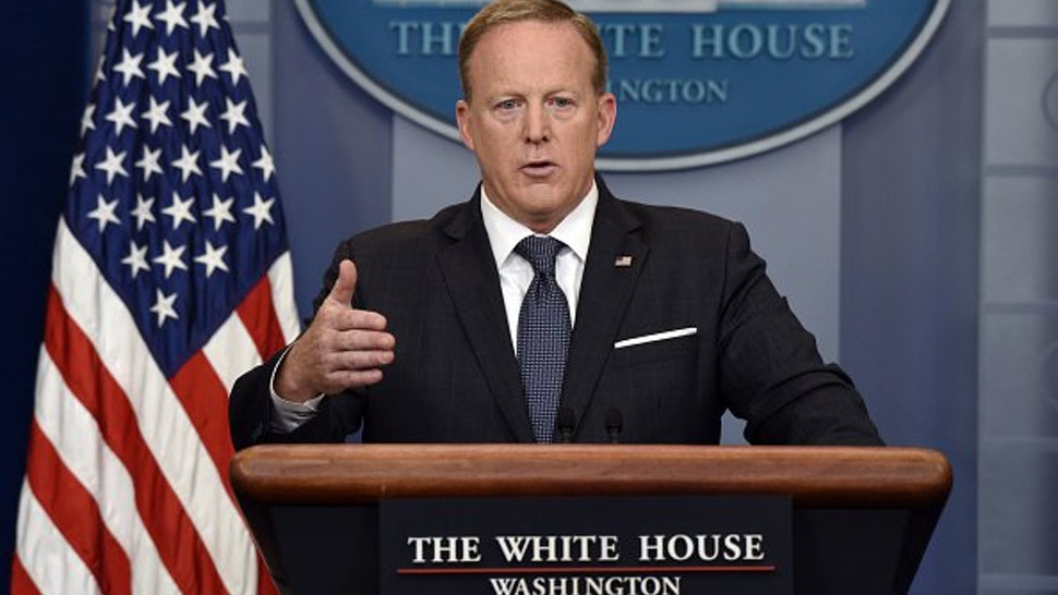 Sean Spicer, White House press secretary, speaks during a White House press briefing in Washington, D.C., U.S., on Tuesday, May 30, 2017.