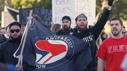 SALT LAKE CITY, UT - SEPTEMBER 27: ANTIFA protesters demonstrate on the University of Utah campus against an event where right wing writer and commentator Ben Shapiro is speaking on September 27, 2017 in Salt Lake City, Utah. Campus authorities have increased security ahead of the appearance by Shapiro, Editor in chief of The Daily Wire.