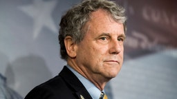 Sherrod Brown, D-Ohio, participates in the press conference on the nomination of Chad Readler