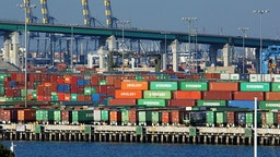Shipping Containers In Long Beach Harbor