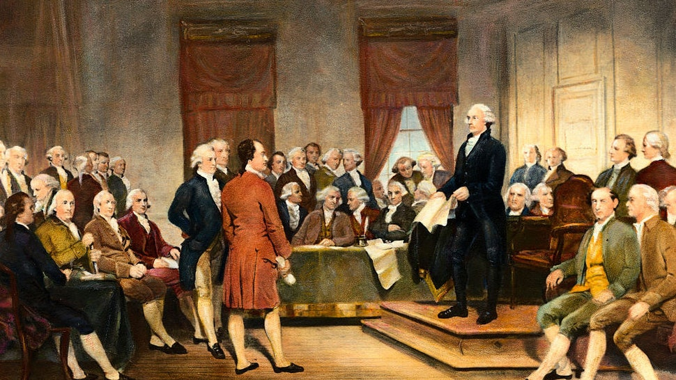 (Original Caption) The signing of the United States Constitution in 1787. Undated painting by Stearns.