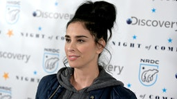 "Sarah Silverman attends NRDC's ""Night of Comedy"" Benefit, in partnership with Discovery, Inc. hosted by Seth Meyers on April 30, 2019 in New York City."