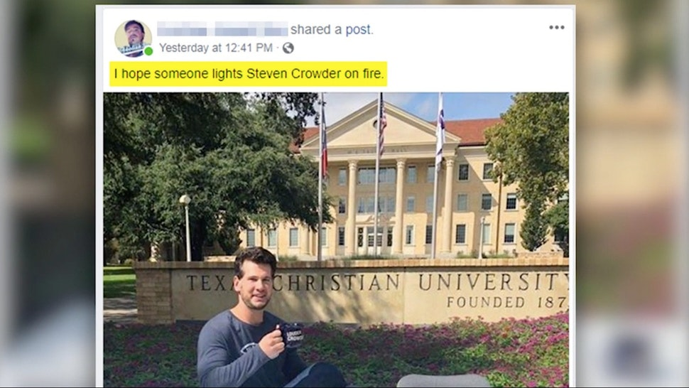 A post by an Antifa member calling for someone to light Steven Crowder on fire.