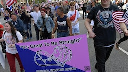 Parade participants are seen at the Boston Straight Pride Parade and Rally organized by Super Happy Fun America on August 31, 2019 in Boston, Massachusetts.