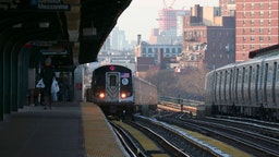 A subway train pulls into the Flushing Avenue station in Brooklyn on February 2, 2019 in New York City.