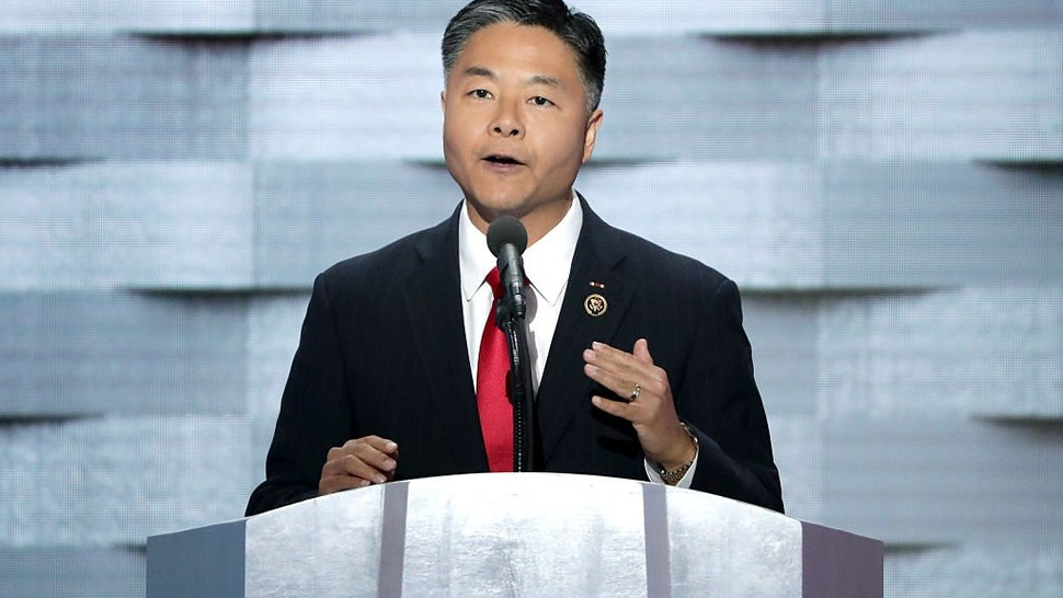 Ted Lieu delivers remarks on the fourth day of the Democratic National Convention